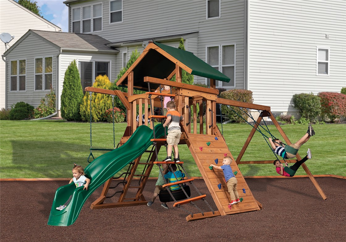 8AS1-19 Adventure Summit 1 Backyard Wooden Swing Set Fort Playset