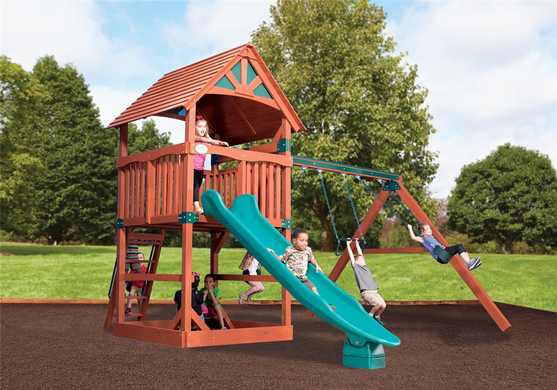 childrens wooden playset with slide