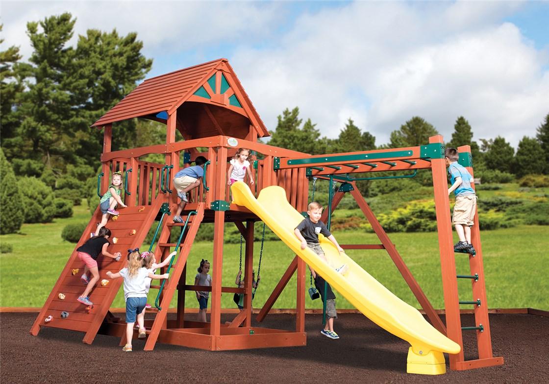 Olympian Treehouse Jumbo 5 Wooden Swing Set with Slide
