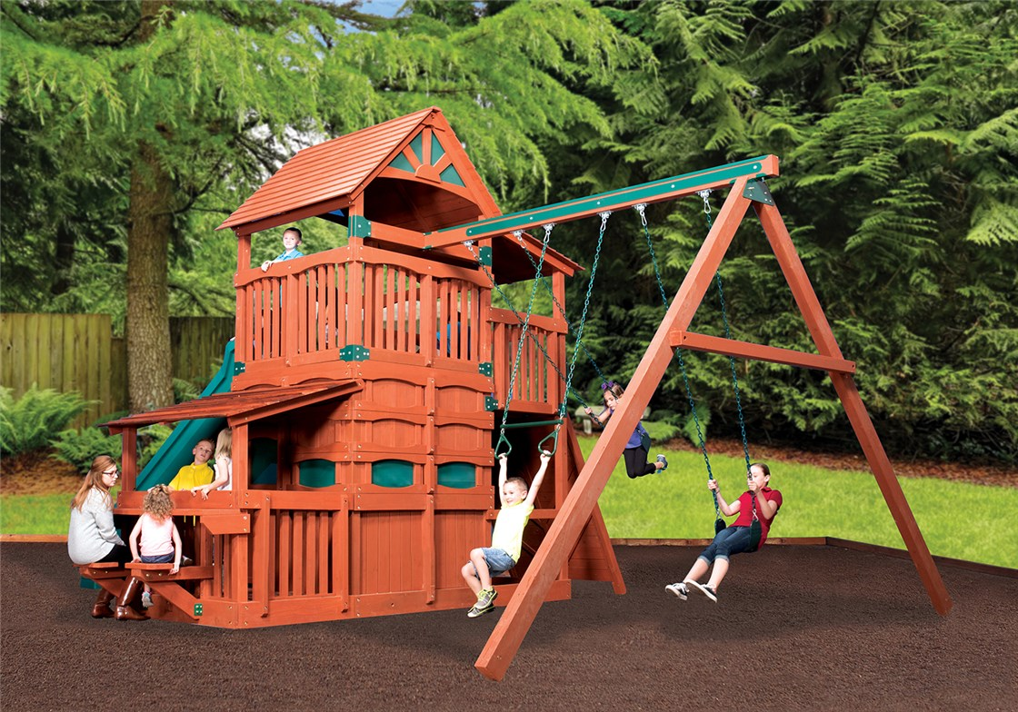 Wooden Swing Set With Rock Climbing Wall